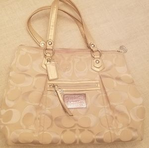 Coach Poppy XL Tote, tan/beige/gold EUC